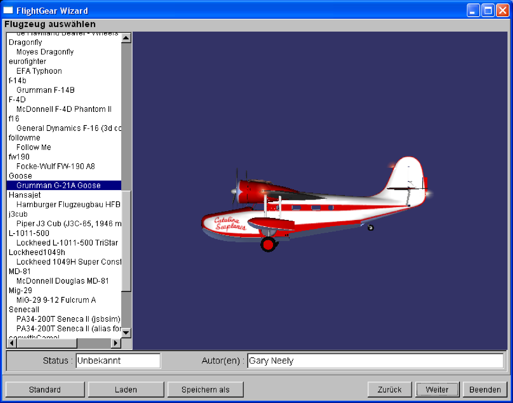 Kapitel II.1. Starten des FlightGear Simulators